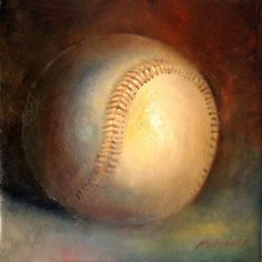 Baseball Babe Ruth Tribute 12 12 in. Oil on canvas, painting by artist Hall Groat II