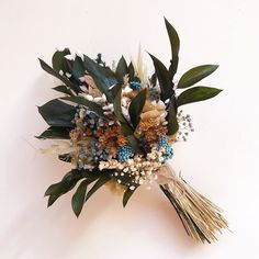 Small rustic wedding bouquet made of preserved Eucaliptus and wild flowers. It stays fresh up to 10 years!