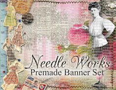 Premade Shop Banner Set  Premade Etsy Banner by LalipopsandDaisies #shop banners #etsyshopbannerset #premadebannerset #sewing #sewingbannerset #vintageshopbanner