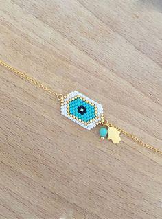 Bracelet Amulette Mauvais Oeil et Petite Main Plaqué Or 24k