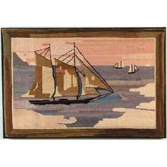 "Rectangular scene shows two-mast schooner in blue water with pink and yellow sunset sky. Sun is seen half into water, birds fly over two other ships in distance. Framed bordered in mottled green and brown. Mounted to black fabric that has been put onto a stretcher. Grenfell label attached to back. RUG SIZE: 26"" x 39"". CONDITION: Very good"
