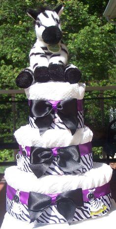 Purple Zebra Diaper Cake Baby Shower Gift Shower Centerpiece Baby Gift Gift for New Mom Dad. Zebra Baby Showers, Baby Shower Purple, Purple Baby, Shower Bebe, Baby Boy Shower, Baby Shower Gifts, Baby Shower Diapers, Baby Shower Cakes, Shower Party