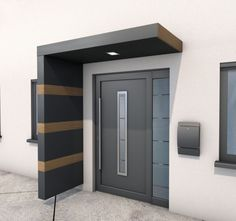 Toldos y cubiertas de patio - WeGa Systeme KG Though age-old throughout strategy, the pergola Door Canopy Modern, Front Door Canopy, Modern Entrance Door, House Entrance, Metal Canopy, Door Gate Design, Front Door Design, Facade Design, Exterior Design