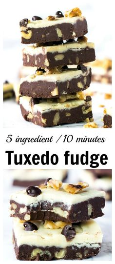 10 minute Double chocolate walnut fudge recipe | Tuxedo fudge