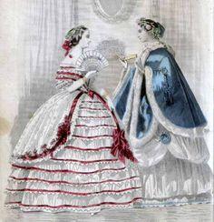 January 1860, Peterson's Magazine, 2 ballgowns.