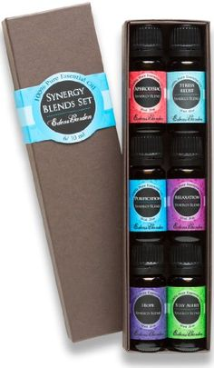 19.99 at amazon Synergy Blends- (Aphrodisiac, Stress Relief, Purification, Relaxation, Hope and Stay Alert) Top 6 Basic Therapeutic Grade Aromatherapy Sampler Pack 100% Pure Therapeutic Grade Essential Oil Gift Set- 6/10 ml Edens Garden http://www.amazon.com/dp/B002RSVTHQ/ref=cm_sw_r_pi_dp_wMd4tb1HN8Y6HE7Y