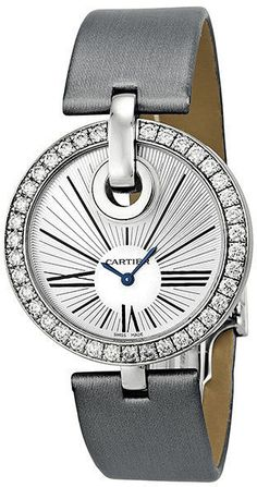 Cartier Captive De Cartier Silver Dial 18kt White Gold Diamond Silver Satin