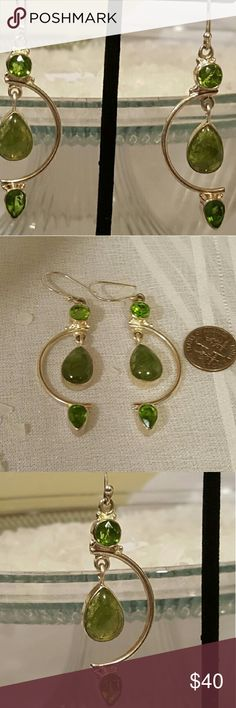 Peridot earrings Faceted peridot and green jasper set in handcrafted 925 sterling silver,  2.5 lightweight inches long NWOT Robin's Nest Jewels  Jewelry Earrings