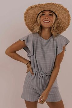 The perfect summer romper is here! Wear this romper to the pool or beach, on a date, or for a casual night out -- you can't go wrong. Featuring a breathable fabric, drawstring waistband, flutter sleeves and a dainty stripe detail. Cool Outfits, Summer Outfits, Casual Outfits, Fashion Outfits, Beautiful Outfits, Fashion Clothes, Summer Dresses, Fashion Ideas, Women's Fashion