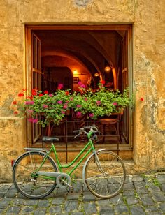 European scene with bicycle.