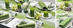 Tischdekoration zur Hochzeit in Grün mit weißer Spitze im Vintage-Look