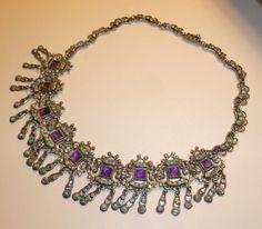 "Vintage Matilde Poulat MATL Silver, Amethyst & Turquoise Necklace 18"" Taxco #MatildePoulatMATL"