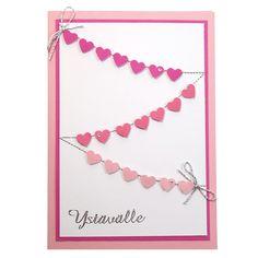 Pikkuisen sydän kuviolävistimen avulla tehty hauska kortti ystävälle. Tarvikkeet ja ideat Sinellistä!