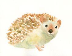 HEDGEHOG by DIMDI Original watercolor painting by dimdi on Etsy