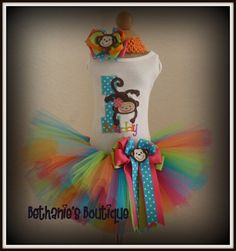 Mod Monkey Birthday tutu set Bright colors by TooTuTuCute on Etsy, $46.95