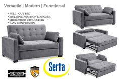Serta Space Saving Upholstered Augustine Grey Sofa Sleeper The Serta Augustine Traditional Couch Futon is one of our most comfortable and space saving casual convertibles with modern serpentine springs padded out with layers of soft foam on top. Add it all up and it's the perfect surface for both sitting and sleeping, and the smooth, stain resistant micro-suede cover and the pillows feel soft and luxurious on your skin.Customer's like the Serta Augustine Modern Convertible Futon Sofa ...