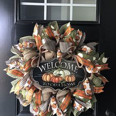 Autumn Wreaths For Front Door, Fall Wreaths, Deco Mesh Wreaths, Door Wreaths, Wreath Burlap, Thanksgiving Wreaths, Welcome Wreath, Wreath Forms, How To Make Wreaths