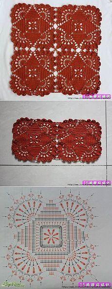 Square crochet motifs. | All about crochet