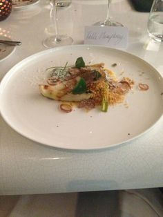 Marcus Wareing chefs table at the Berkeley! Calcot onion, duck egg, parmesan