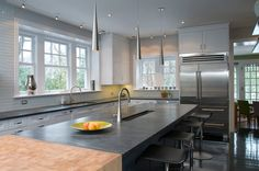 Soapstone Counter with Linear Glass Tile. contemporary kitchen by Nolan Painting Inc. Countertop Backsplash, Soapstone Countertops, Kitchen Countertop Materials, Kitchen Countertops, Mosaic Backsplash, Backsplash Design, Cheap Countertops, Backsplash Ideas, Soapstone Kitchen