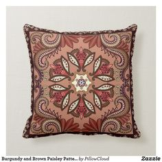 Shop Burgundy and Brown Paisley Pattern Throw Pillow created by PillowCloud. Brown Throws, Brown Pillows, Paisley Flower, Paisley Pattern, Mandala Art, Custom Pillows, House Colors, Throw Pillow, Burgundy