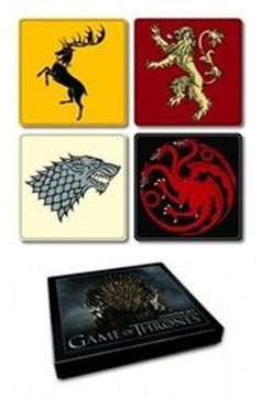 Game of Thrones House Sigil Coaster Set 20-699 by Dark Horse. $10.50. Follow us to the vast world of Westeros, where the kingdom's seven noble families vie for control of the Iron Throne. Delve into the mystery, love, suspense, treachery, greed, and magic that has captivated audiences and readers alike. Now you can bring a piece of Westeros into your own castle with these coasters featuring sigils from the kingdom's noble families.