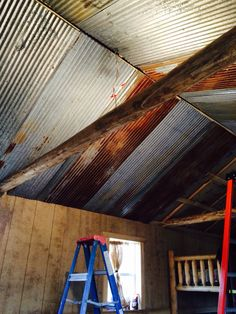 Reclaimed tin ceilings in our cabin. All the tin is up. Next we be trimming it in and running wood beams down the center.