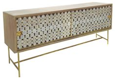 Serena Buffet - Hardwood w/Two Sliding Polished Capiz Shell Doors
