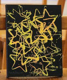 Art for preschoolers - nighttime art that even glows under a black light!