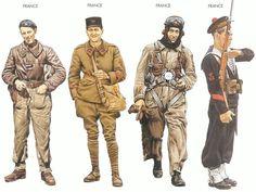 WW2 - France - 1940 Apr., Amiens, Sergeant, Armoured Division France - 1940 Apr., Flanders, Private First Class, 182nd Art. Regiment France - 1940 Apr., France, Pilot, Paris Air Region France - 1940 May, Brest, Leading Seaman, Atlantic Fleet