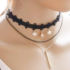Chic Layered Faux Pearl Bar Choker Necklace For Women