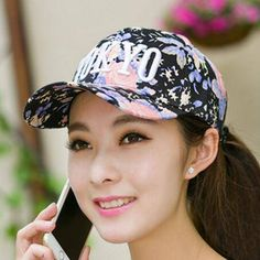 eaebaa0f693 Tokyo letter baseball cap with embroidery for teenage girls flower  adjustable caps