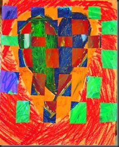 smART class--warm/cool heart weaving