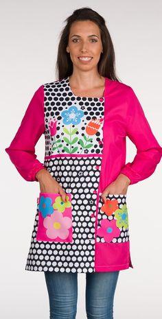 Bata School Lunares y Flores Teacher, Lettering, Couture, Sewing, Blouse, Stuff To Buy, Image, Aprons, Dresses