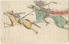 """Eagle Shield Kills a Crow Indian"". Drawing by Eagle Shield, a Lakota Indian from Standing Rock Reservation. This scene depicts Eagle Shield chasing after a Crow Indian with a spear resulting in his death. Drawing, account and accompanying song were given to Frances Densmore as she was recording music for her book, Teton Sioux Music, in 1911-14. Minnesota Historical Society"