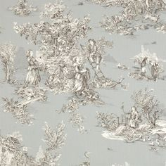Cut Length of Pastoral Toile de Jouy in Grey made by Jim Lawrence Foyer Wallpaper, Toile Wallpaper, French Wallpaper, Toile Curtains, B And J Fabrics, Free Fabric Swatches, Textiles, Brocade Fabric, French Decor