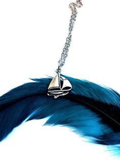#women #fashion #pinner #follow_me @myemilypierce , Little silver sailboat necklace sailboat necklace by BeadingByJenn blue -  silver -  #boat necklace  accessories