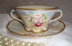 Stunning - Theo Haviland - Limoges France - Bouillon - Cup & Saucer - Hand Painted - Pink Roses - Blue Jewels - Museum Quality - Treasured Heirloom