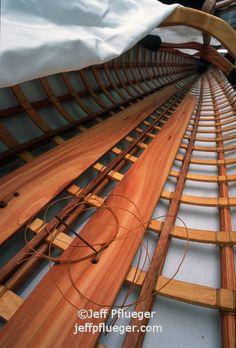 The inside of an Aleutian Baidarka Sea Kayak