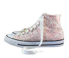 a6d640af46af Ivory Lace High Top Converses -- Storm Pink Bridal Converses -- Wedding  Tennis shoes - Wedding Converse High Top-- Custom Converses