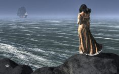 A dark haired woman stands atop a cliff looking out to sea.The ocean breeze blows through her hair and makes her brown dress sway in the wind. Mermaid Skeleton, Marlboro Man, Pirate Art, Composition Art, Thing 1, Out To Sea, Album Design, Woman Standing, My Favorite Image