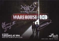 A signed cast photo of the SciFi Channel show Warehouse 13.    Signed by Allison Scagliotti, Eddie McClintock, Me and Joanne Kelly.     I like this one
