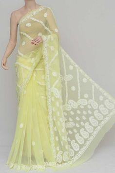 Yellow Colour Half Chhadi Jaal Hand Embroidered Lucknowi Chikankari Saree (With Blouse - Georgette) Tussar Silk Saree, Georgette Sarees, Saree Blouse, Sari, Saree Shopping, Indian Designer Outfits, Half Saree, Sarees Online, Chiffon