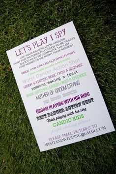 A creative DIY game for your wedding guests. this is awesome!  you can create an instagram page to post the pic's to!!