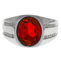Oval-Cut Ruby and Diamond Men's Ring In White Gold Available Exclusively at Gemologica.com