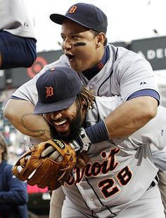 Detroit Tigers, Miguel Cabrera hitches a ride on Prince Fielder after Fielder's two-run homer.