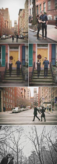 walking along street