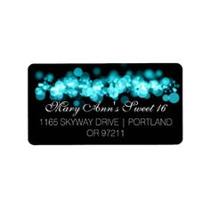 Sweet 16 Birthday Party Turquoise Bokeh Lights Label