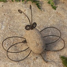 River Stone and Wire Garden Bee