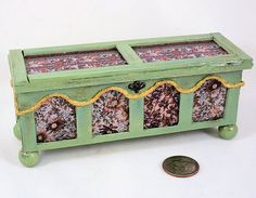 French Medieval wooden dower chest with by AuntElliesMiniatures